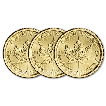 2017 Canada Gold Maple Leaf - 1/10 oz - $5 - Three 3 Coins