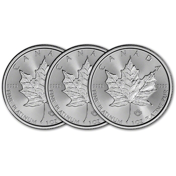 2017 Canada Platinum Maple Leaf - 1 oz - $50 - BU - Three 3 Coins