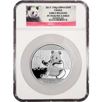 2017 China Silver Panda Proof (150 g) 50 Yuan - NGC PF70 - Early Releases Panda