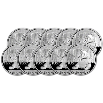 2017 China Silver Panda (30 g) 10 Yuan - BU in Original Capsule - Ten (10) Coins