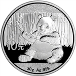2017 China Silver Panda (30 g) 10 Yuan - BU in Original Capsule