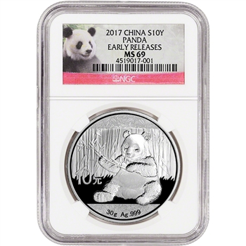2017 China Silver Panda (30 g) 10 Yuan - NGC MS69 - Early Releases - Panda Label