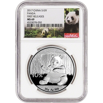 2017 China Silver Panda (30 g) 10 Yuan - NGC MS69 - First Releases - Panda Label