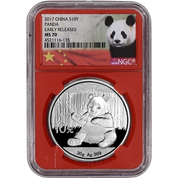 2017 China Silver Panda (30 g) 10 Yuan - NGC MS70 Early Releases Red Core Holder