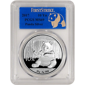 2017 China Silver Panda (30 g) 10 Yuan - PCGS MS69 - First Strike - Reveal Label