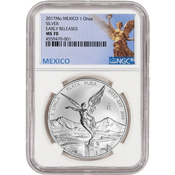 2017 Mexico Silver Libertad (1 oz) 1 Onza - NGC MS70 Early Releases Mexico Label