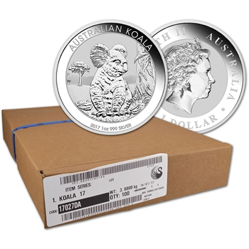 2017 P Australia Silver Koala (1 oz) $1 - BU - 1 Box - Sealed 100 Coin Box