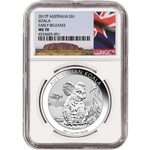 2017 P Australia Silver Koala (1 oz) $1 - NGC MS70 - Early Releases - Ayers Rock