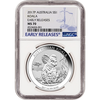 2017 P Australia Silver Koala (1 oz) $1 - NGC MS70 - Early Releases
