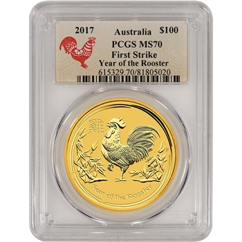 2017 P Australia Gold Lunar Rooster (1 oz) $100 - PCGS MS70 - First Strike Lunar