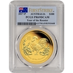 2017 P Australia Gold Lunar Rooster Proof (1 oz) $100 - PCGS PR69 - First Strike
