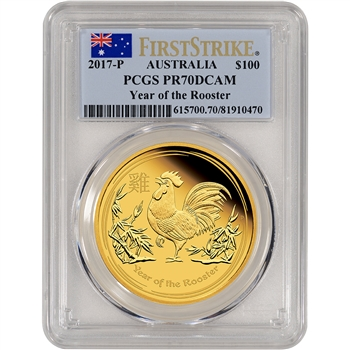 2017 P Australia Gold Lunar Rooster Proof (1 oz) $100 - PCGS PR70 - First Strike