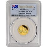2017 P Australia Gold Lunar Rooster Proof (1/10 oz) $15 - PCGS PR69 First Strike