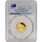2017 P Australia Gold Lunar Rooster Proof (1/10 oz) $15 - PCGS PR70 First Strike