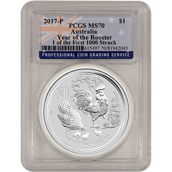 2017 P Australia Silver Lunar Rooster (1 oz) $1 PCGS MS70 - 1 of 1st 1000 Struck