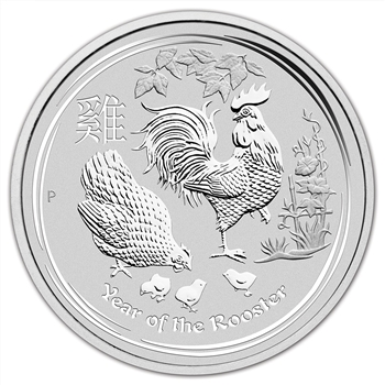 2017 P Australia Silver Lunar Year of the Rooster (5 oz) $8 - BU