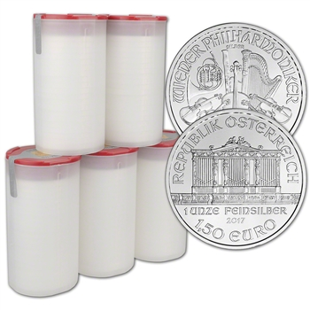 2017 Austria Silver Philharmonic - 1 oz - 5 Rolls 100 Coins in 5 Mint Tubes