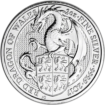 2017 Great Britain Silver Queen's Beasts - Dragon ?5 - 2 oz - BU