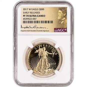 2017-W American Gold Eagle Proof 1 oz $50 - NGC PF70 Early Releases St Gaudens