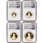 2017-W American Gold Eagle Proof 4-pc Year Set - NGC PF70 Early Releases 225th