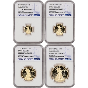 2017-W American Gold Eagle Proof 4-pc Year Set - NGC PF70 UCAM - Early Releases