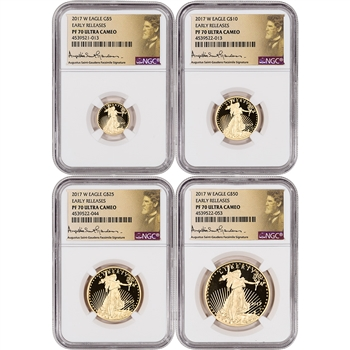 2017-W American Gold Eagle Proof 4-pc Year Set - NGC PF70 Early Releases Gaudens