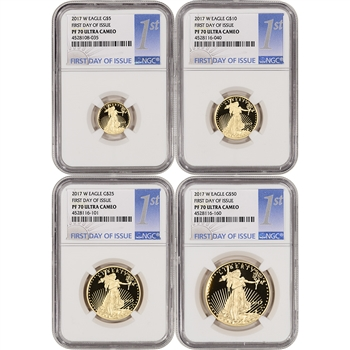 2017-W American Gold Eagle Proof 4-pc Year Set - NGC PF70 First Day - 1st Label