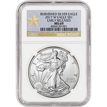 2017-W American Silver Eagle Burnished - NGC MS69 - Early Releases WP Star