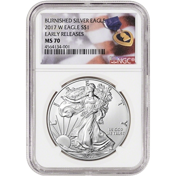 2017-W American Silver Eagle Burnished - NGC MS70 - Early Releases Purple Heart