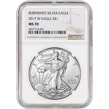 2017-W American Silver Eagle - Burnished - NGC MS70 - Large Label