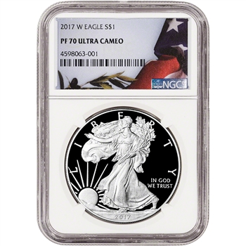 2017-W American Silver Eagle Proof - NGC PF70 UCAM - Flag Label