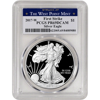 2017-W American Silver Eagle Proof - PCGS PR69 DCAM - First Strike - West Point