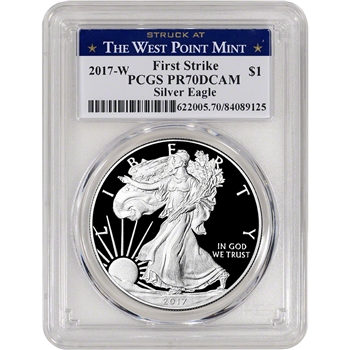 2017-W American Silver Eagle Proof - PCGS PR70 DCAM - First Strike - West Point
