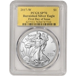 2017-W American Silver Eagle Burnished - PCGS SP70 - First Day Issue Gold Foil