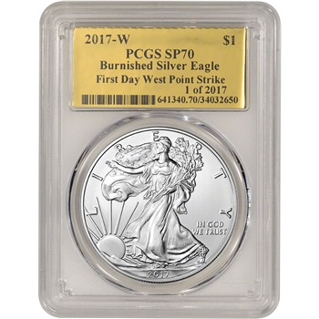 2017-W American Silver Eagle Burnished - PCGS SP70 First Day WP Strike Gold Foil