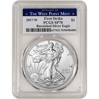 2017-W American Silver Eagle Burnished - PCGS SP70 - First Strike WP Label