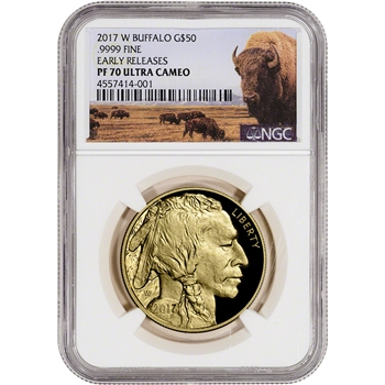 2017-W American Gold Buffalo Proof (1 oz) $50 - NGC PF70 Early Releases Bison