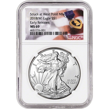 2018-(W) American Silver Eagle - NGC MS69 - Early Releases - Purple Heart