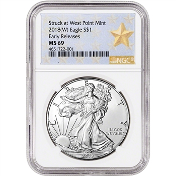 2018-(W) American Silver Eagle - NGC MS69 - Early Releases - Star Label