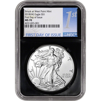 2018-(W) American Silver Eagle - NGC MS70 - First Day of Issue - 1st Label Black