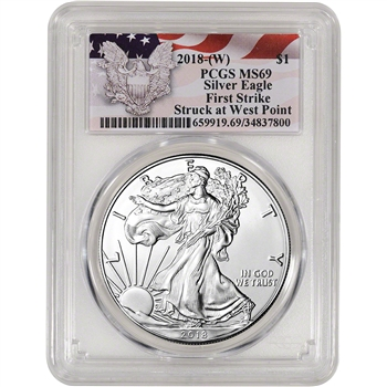 2018-(W) American Silver Eagle - PCGS MS69 - First Strike - Red Flag Label