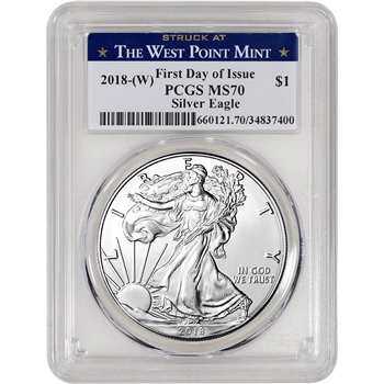 2018-(W) American Silver Eagle - PCGS MS70 - First Day - West Point Label