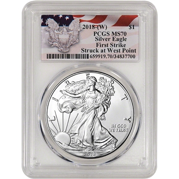 2018-(W) American Silver Eagle - PCGS MS70 - First Strike - Red Flag Label