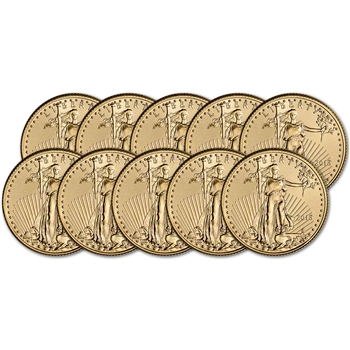 2018 American Gold Eagle (1/4 oz) $10 - BU - Ten 10 Coins