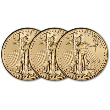 2018 American Gold Eagle (1/4 oz) $10 - BU - Three 3 Coins