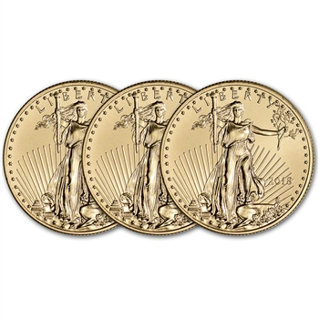 2018 American Gold Eagle (1/2 oz) $25 - BU - Three 3 Coins