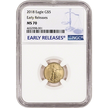 2018 American Gold Eagle (1/10 oz) $5 - NGC MS70 Early Releases