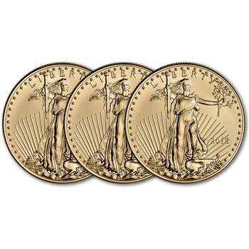2018 American Gold Eagle (1 oz) $50 - BU - Three 3 Coins