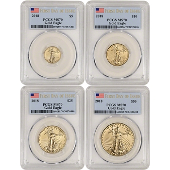2018 American Gold Eagle 4-pc Year Set - PCGS MS70 First Day of Issue Label
