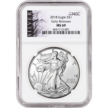 2018 American Silver Eagle - NGC MS69 - Early Releases - ALS Label